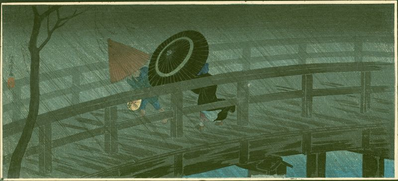 Takahashi Shotei Woodblock Print - Night Shower Izumi Bridge