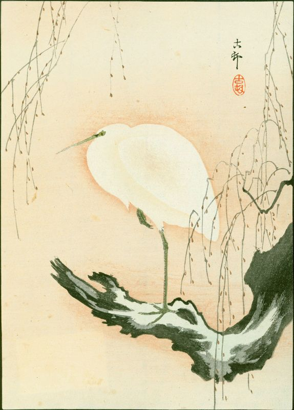 Ohara Koson Woodblock Print - Egret on a Willow Tree - 1910 SOLD