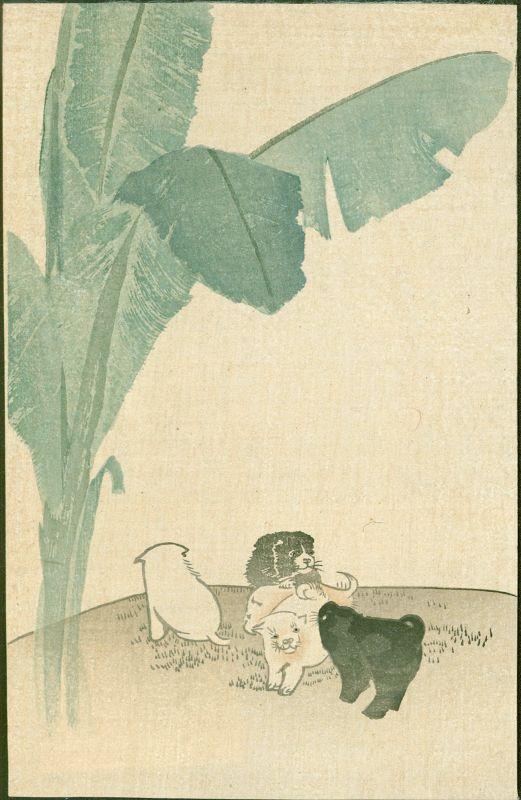 Japanese Woodblock Print - Puppies and Banana Leaves - 1910 Matsumoto