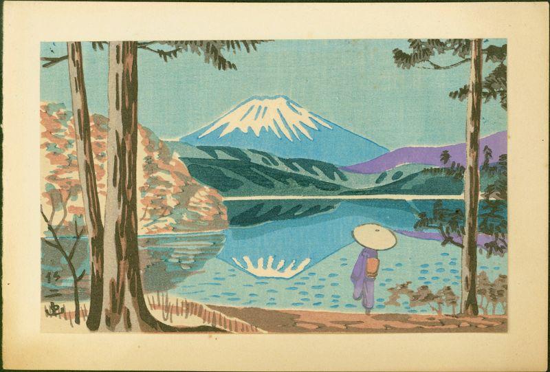 Takeji Asano Japanese Woodblock Print - Woman and Mt. Fuji with Lake