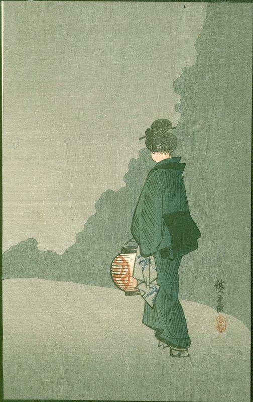Hiroshige Japanese Woodblock Print - Girl with Lantern -Matsumoto 1910