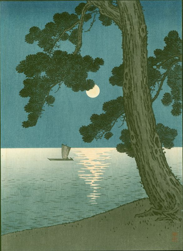 Arai Yoshimune Japanese Woodblock Print - Pine Beach Hasegawa Night 2