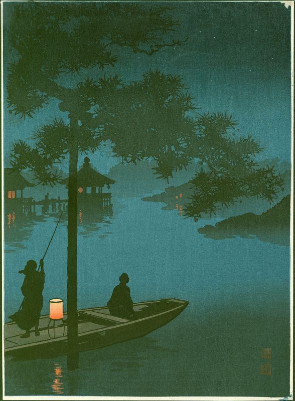 Shoda Koho Woodblock Print - Lake Biwa -Hasegawa Night Scene SOLD