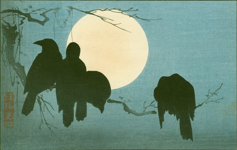 Ogata Korin Japanese Woodblock Print - Crows and Moon RESERVED