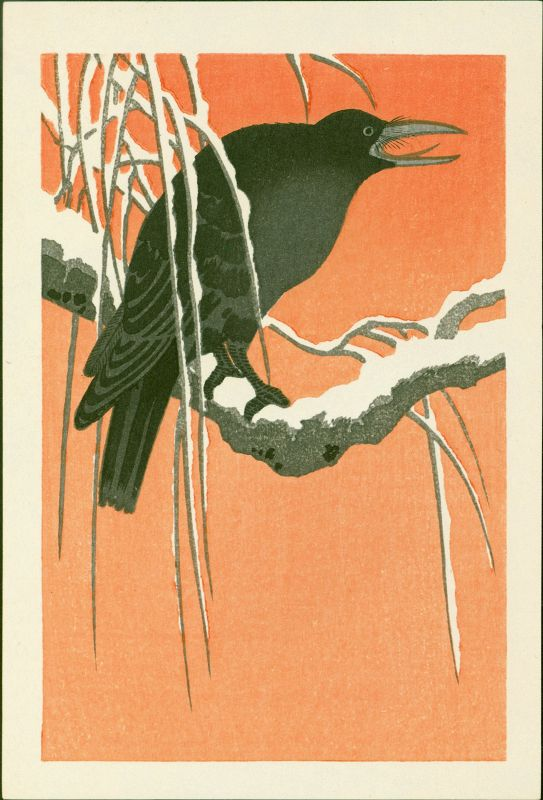 Ohara Koson Japanese Woodblock Print - Crow on Snowy Bough SOLD