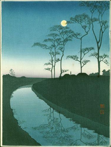 Shoda Koho Woodblock Print - Country Scene With Moon (Canal) (1)