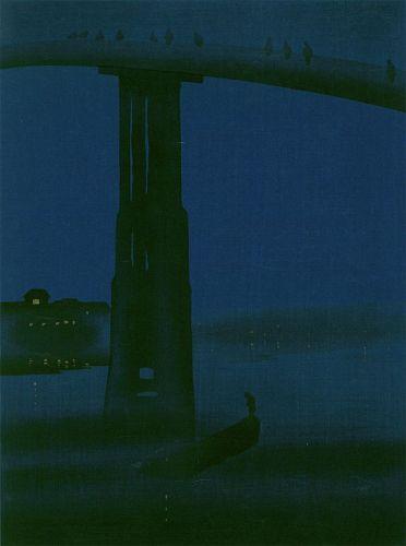 Eijiro Woodblock Print- High Bridge Hasegawa Night-James Whistler SOLD