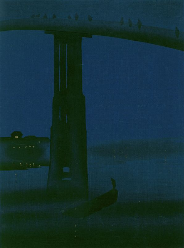 Eijiro Woodblock Print- High Bridge Hasegawa Night-James Whistler SOLD