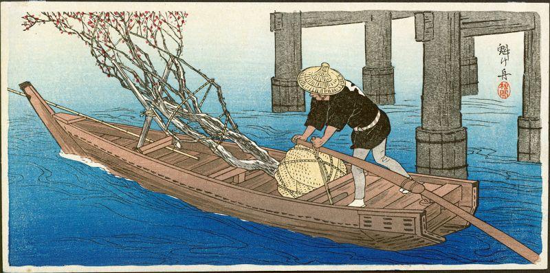 Shotei Japanese Woodblock Print- Plum Tree in Boat Pre-1923 Earthquake