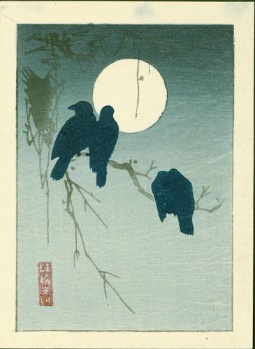 Ogata Korin Woodblock Print - Miniature Crows and Moon RESERVED