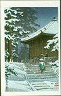 Kawase Hasui Japanese Woodblock Print - Hall of the Golden Hue - Small