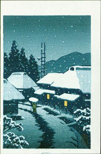 Kawase Hasui Woodblock Print - Evening Snow at Terajima Village