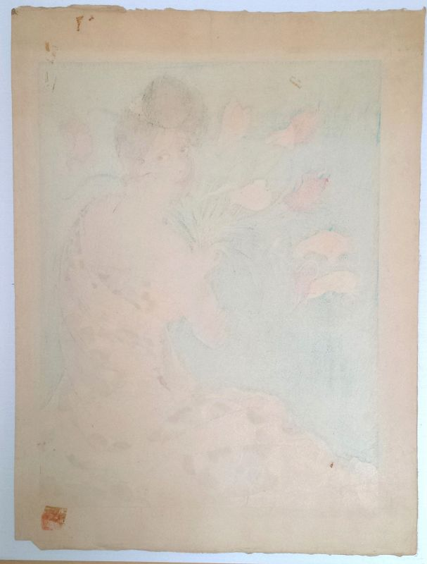 Paul Jacoulet Japanese Woodblock Print - Spray of Anthurium Flowers