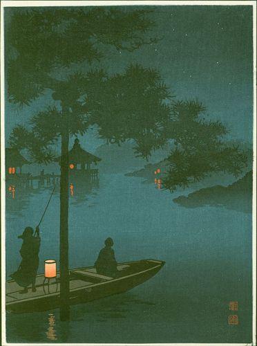 Shoda Koho Japanese Woodblock Print - Lake Biwa -Hasegawa Night -SOLD