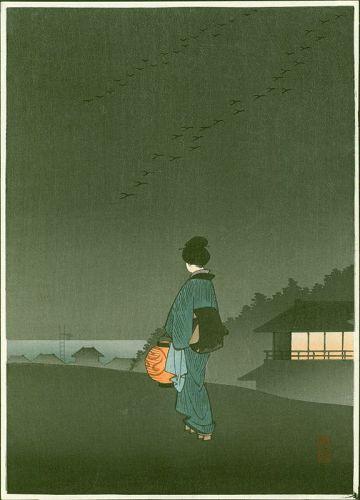 Hiroshige Japanese Woodblock Print - Nihon Zutsumi - Hasegawa Night