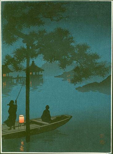 Shoda Koho Japanese Woodblock Print - Lake Biwa - Hasegawa Night Scene