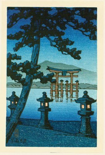 Kawase Hasui Japanese Woodblock Print - Evening at Miyajima SOLD