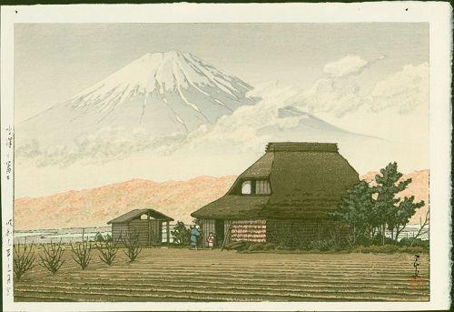 Kawase Hasui Japanese Woodblock Print - Mount Fuji from Narusawa