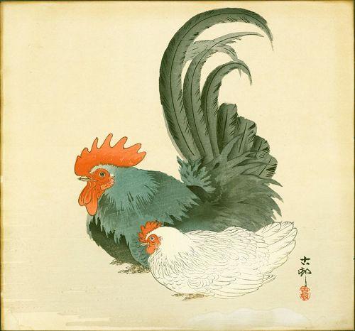 Ohara Koson Japanese Woodblock Print - Hen and Rooster - 1910s
