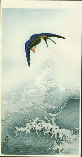 Ohara Koson Japanese Woodblock Print - Swallow Over Waves