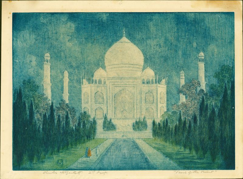 """Charles Bartlett Etching w/Watercolor -Taj Mahal """"Pearl of the Orient"""""""