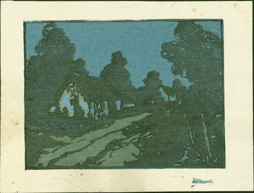 Andrew Kay Womrath Woodblock Print - Cottage and Lane at Night (2)