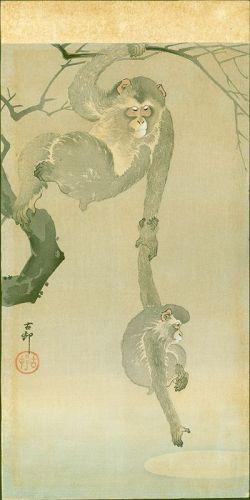 Ohara Koson Woodblock Print - Monkey and Baby - Moon Reflection RARE