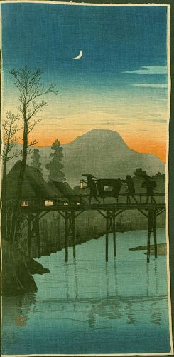 Takahashi Shotei Woodblock Print - Evening Glow Sakawa Bridge - Creped