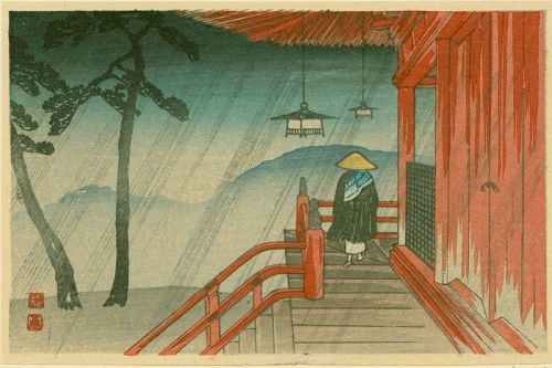 Takahashi Shotei Japanese Woodblock Print - Priest at Temple in Rain