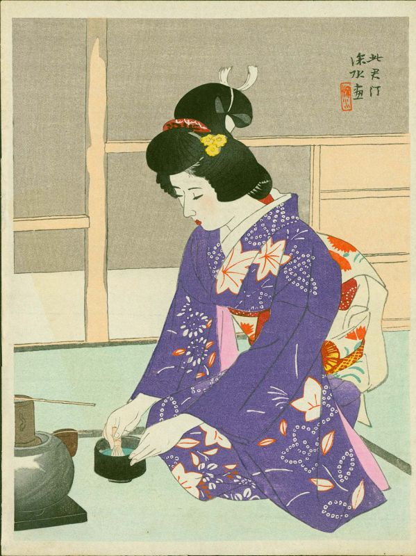 Ito Shinsui Japanese Woodblock Print - Preparing Tea