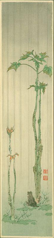 Shoda Koho Japanese Woodblock Print - Frog in Rain SOLD