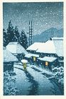 Kawase Hasui Japanese Woodblock Print - Evening Snow at Terajima