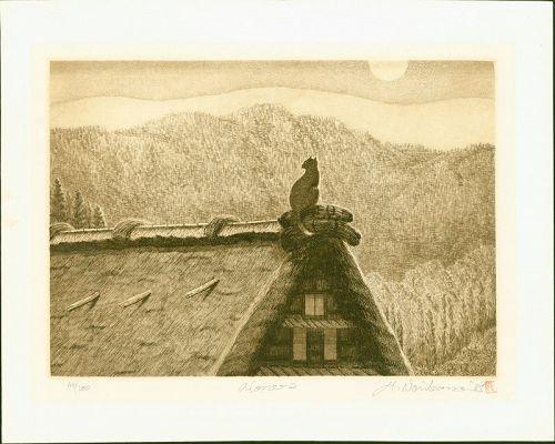 Hiroto Norikane Japanese Etching - Alone 2 (Cat on Rooftop) Ltd. Ed.