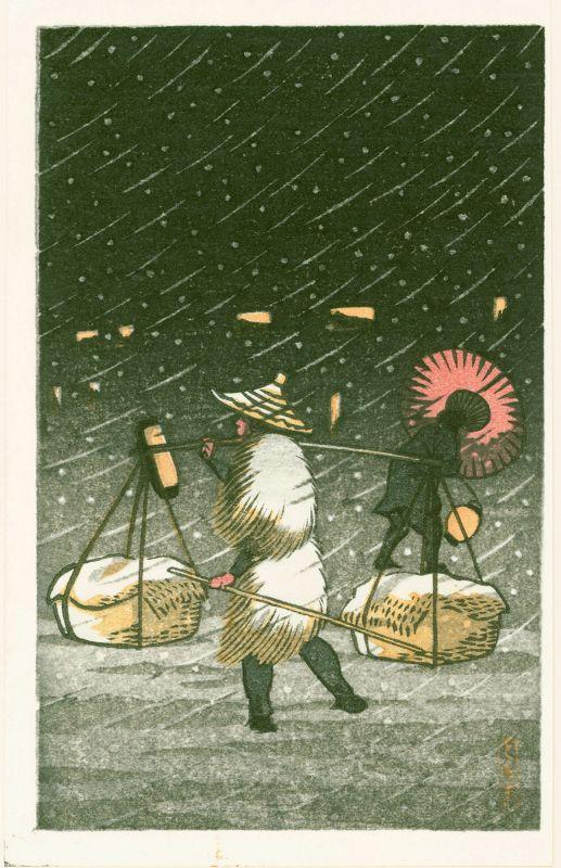 Tomoe Japanese Woodblock Print - Peddler in Snow at Night