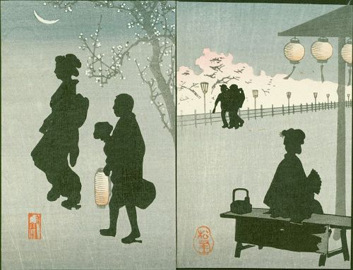 Japanese Woodblock Print Pair- Silhouettes - 1910 Matsumoto