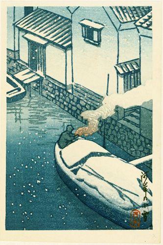 Kawase Hasui Japanese Woodblock Print - Snow at Kashi