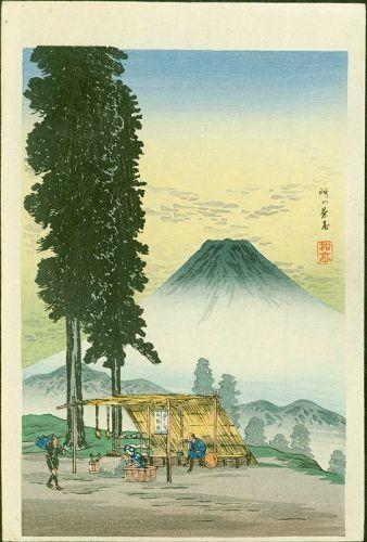 Takahashi Shotei Woodblock Print - Mt. Fuji from a Resting-booth