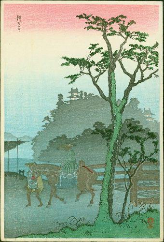 Takahashi Shotei Woodblock Print - Morning Fog - Likely Pre-1923 Rare