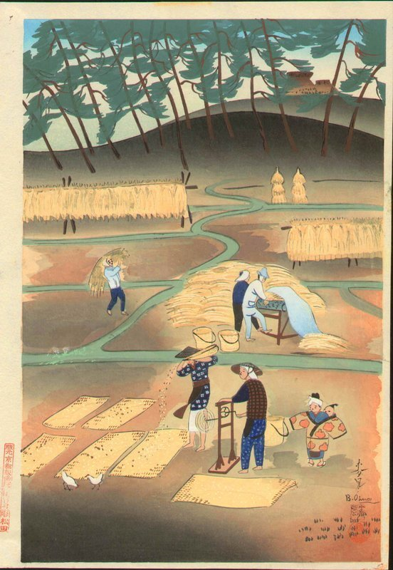 Ohno Bakufu Japanese Woodblock Print - Rice Reaping