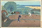 Ohno Bakufu Japanese Woodblock Print - Rice Weeding