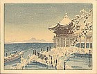 Eiichi Kotozuka - Woodblock Print - Temple Snow Scene