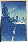 Shotei Japanese Woodblock Print Mountain Moon SOLD