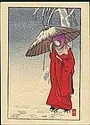 Ito Sozan Woodblock Print - Lady in Red SOLD
