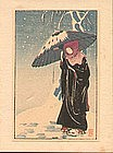 Ito Sozan Japanese Woodblock Print - Lady in Black SOLD
