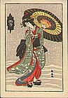 Katsukawa Shunsen Woodblock Print - Yuki (Snow) (2)