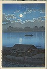 Kawase Hasui Woodblock Print Moon Over Arakawa 2 (SOLD)