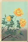 Ohno Bakufu Japanese Woodblock Print - Yellow Roses