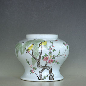 "Chinese Famille Rose ""Qianjiangcai"" Vase, Late Qing"