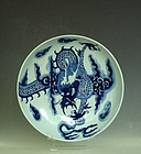 A Blue and White Dragon Dish, Qing Dynasty