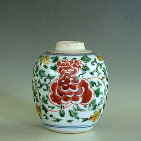 Small Chinese Famille Verte Jar, Kangxi Period
